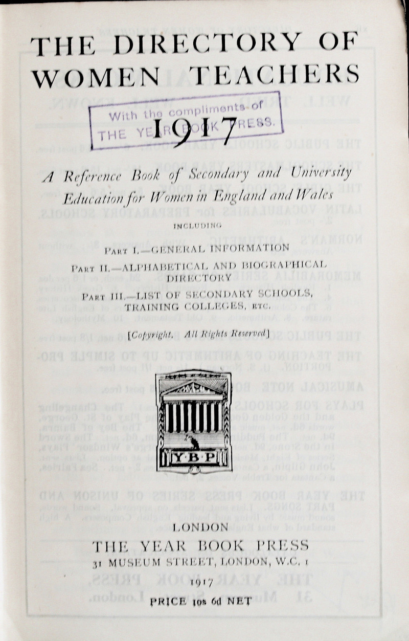 The Directory of Women Teachers 1917