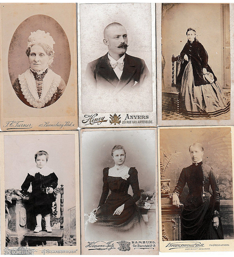 19th Century Carte De Visite Photographs With Few Topographical But Chiefly Portraits