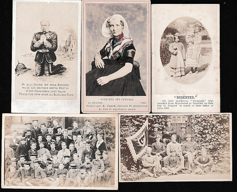 19th Century Carte De Visite Photographs Including Comic 4 Two Political Cartoons Cricketers School Groups 2